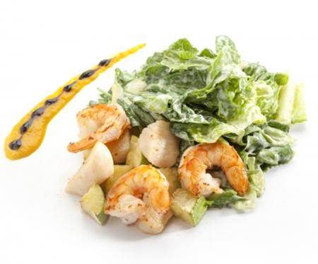 Салат с гребешком и креветками